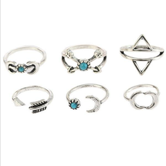 Vintage Set of Fingger Rings Sun Moon Triangle Geometric Bule Turquoise Ethnic Jewelry for Women