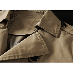 Mens Classic Mid-Long Epaulette Buttons Decoration Cotton Loose Trench Coat