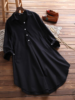 Vintage Lapel Pocket Shirt Dress For Women