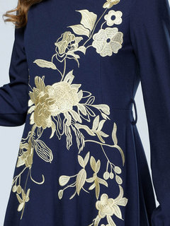 Muslim Embroidery Long Sleeve Maxi Dress