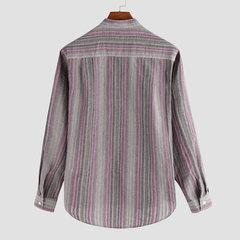 Para hombre 100% algodón Estilo étnico Rayas Soporte suelto Color Manga larga Moda Casual Botones camiseta