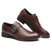 Men Stylish Crocodile Pattern Hook Loop Business Formal Dress Shoes