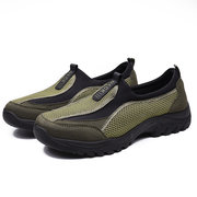 Men Mesh Fabric Splicing Breathable Slip On Casual Hiking Sneakers