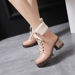Square Heel Lace Up Pure Colour Fur Lining Warm Snow Boots For Women