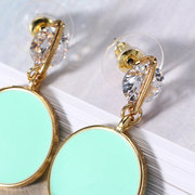 JASSY® Sweet Candy Color Earrings Robin Egg Blue Coin Pendant Zirconia Women Jewelry Lovely Gift