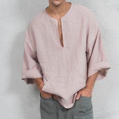 T-shirt à manches longues pour hommes en coton et lin