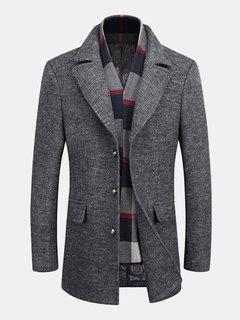 Mens Winter Gentlemanlike Woolen Long Coat Sciarpa Warm Turndown Collar Sottile Fit Outwear
