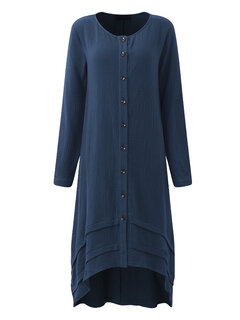 O-NEWE Casual Solid Long Sleeve High Low Dress For Women