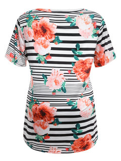 Floral Print Maternity Soft Striped Nursing Tops