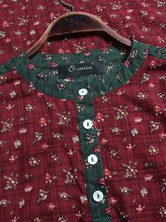 Vintage Blumendruck Patchwork Unregelmäßig Plus Größe Shirt