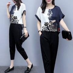 New Women's Season Large Size Two-piece Pants Chiffon Short-sleeved Shirt Cropped Trousers Casual Fashion Suit Women