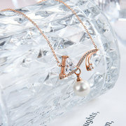 Stylish Short Necklace Fine Copper Rose Gold Plated Pearl Zircon Fashionable Accessories
