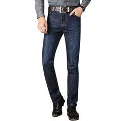 Mens Business Loose Mid Rise Muti Bolsos Casual Jeans Calças