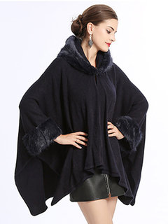 Elegant Faux Fur Collar Hooded Knit Shawl Cloak Coat