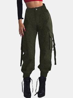 ركض عارضة في الهواء الطلق عالية الخصر جيوب السراويل العسكرية