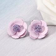 JASSY® Sweet Light Amethyst Rhinestones Flower Ear Stud Silver Plated Earrings