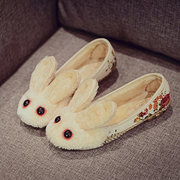 Bunny Red Eyes Ears Fur Lining Floral Print Cute Flat Loafers