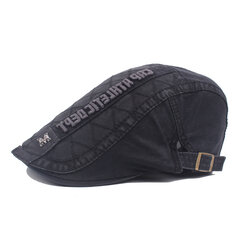 Mens Cotton M Logo Embroidery Letter Beret Cap Casual Visor Forward Hat Adjustable