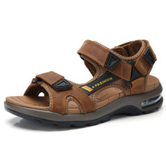 Men Air Cushion Shock Absorption Outdoor Non Slip Hook Loop Leather Sandals