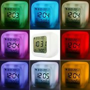 Multi-function Cartoon 7 Color Glowing Change Digital Alarm Clock LED Thermometer Clock Cube