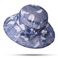 Женское Bow Flower Sunscreen Bucket Шапка На открытом воздухе Повседневная складная сумка Пляжный Море Шапка