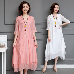 New Ethnic Style Embroidery Cotton And Linen Set Long Shawl Cardigan Vest Dress