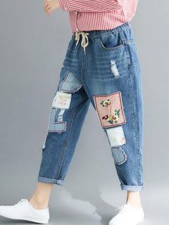 Pantalon en denim brodé décontracté pour femme