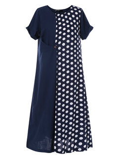 Polka Dot Patchwork Short Sleeve Summer Plus Size Dress