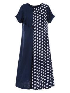رقصة البولكا نقطة المرقعة قصيرة الأكمام الصيف Plus الحجم اللباس