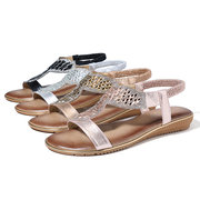 LOSTISY Opened Toe Sequined Hollow Out Beach Casual Summer Flat Sandals