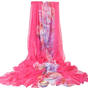 Women Summer Large Thin Silk Scarf Travel Leisure Flowers Beach Shawl