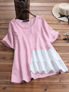Embroidery Plaid Patchwork Hollow Short Sleeve Blouse