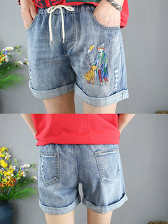Cartoon Embroidery Drawstring Ripped Denim Shorts