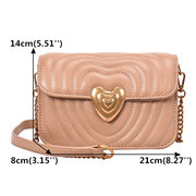 Women Quilted Chic Crossbody Bag PU Leather Chains Shoulder Bag