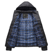 Patchwork Hooded Warm Puffer Cotton Padded Coat for Men