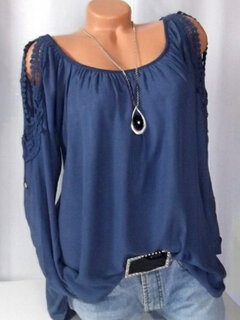 Solid Color Off The Shoulder Lace O-neck Long Sleeve Shirts