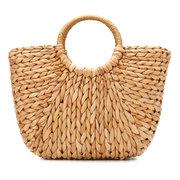 Sac de paille femmes sac de rotin d'été à la main tissé cercle plage Bohemia