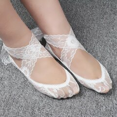 Women Ladies Summer Vintage Ballet Style Lace High Heel Boat Socks Invisible Low Short Socks