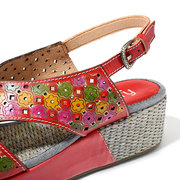 SOCOFY Candy Color Genuine Leather Hollow Flowers Pattern Platform Buckle Strap Sandals