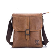 Bullcaptain Genuine Leather Message Bag Soft Face Business Crossbody Bag For Men
