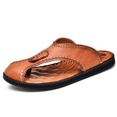 Men Hand Stitching Clip Toe Beach Casual Water Leather Flip Flops