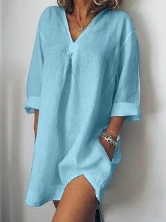 Solid Color V-neck Long Sleeve Casual Dress
