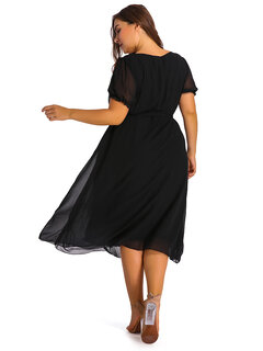 O-NEWE Elegant Women Ruffle Chiffon High Low Party Dress