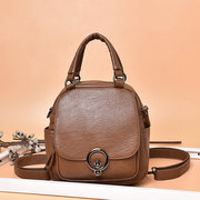 Women Leisure Solid Handbag Soft Leather Double Layer Crossbody Bag Multi-function Backpack