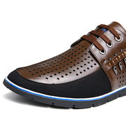 Men Genuine Leather Splicing Hole Breathable Large Size Soft Casual Shoes