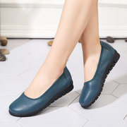 SOCOFY Casual Pure Black Slip On Leather Soft Flat Shoes