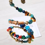 Bohemian Colorful Stone Long Bracelet Multilayer Rhinestone Bead Bracelet Gift for Her Him