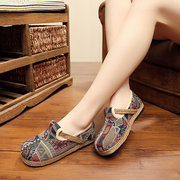 Pattern Printing Folkways Linen Flat Shoes