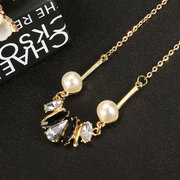 JASSY Trendy Gold Plated Crystal Pearl Copper Necklace