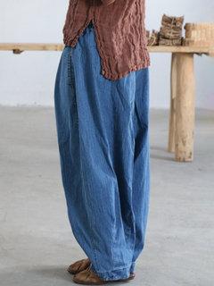 Tasche larghe sulle gambe elastiche in vita Casual Jeans